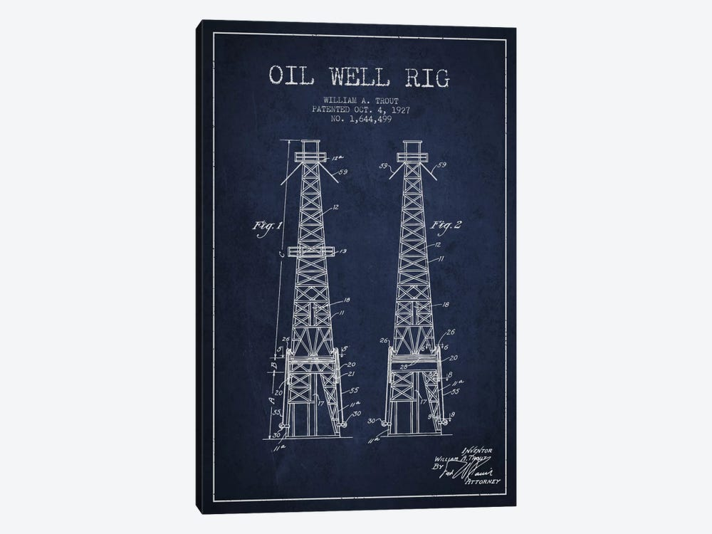 Oil Well Derrick Navy Blue Patent Blueprint by Aged Pixel 1-piece Canvas Wall Art