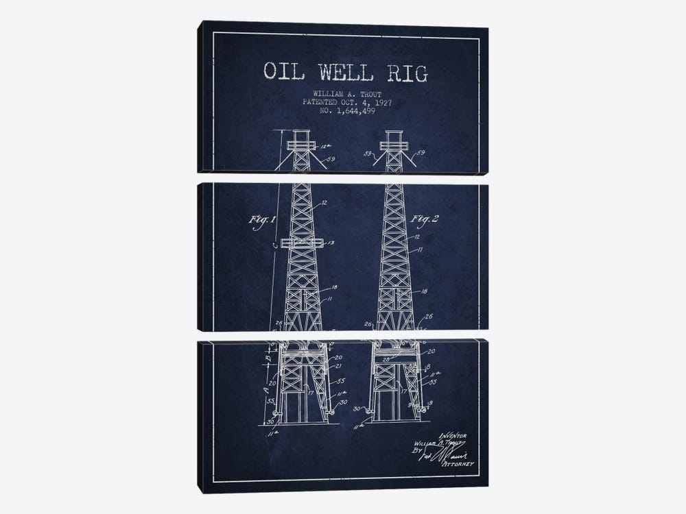 Oil Well Derrick Navy Blue Patent Blueprint by Aged Pixel 3-piece Canvas Artwork