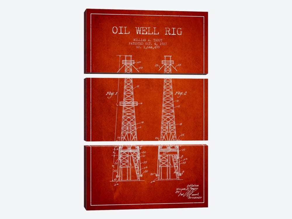 Oil Well Derrick Red Patent Blueprint by Aged Pixel 3-piece Art Print
