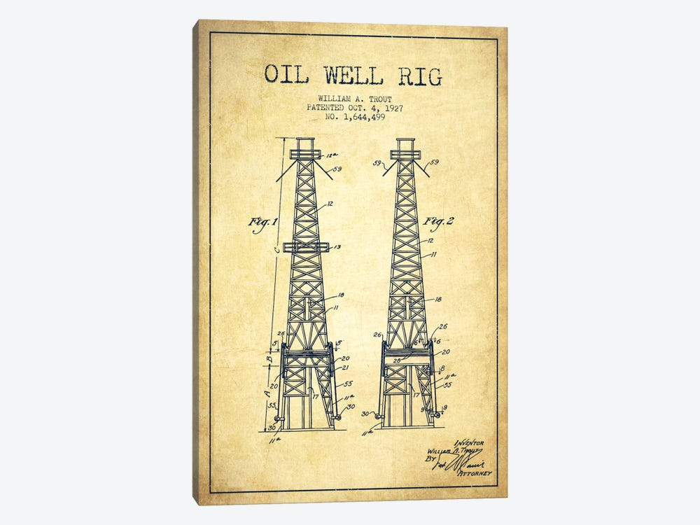 Oil Well Derrick Vintage Patent Blueprint by Aged Pixel 1-piece Canvas Art
