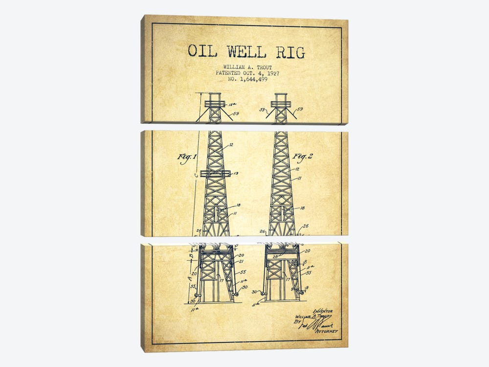 Oil Well Derrick Vintage Patent Blueprint by Aged Pixel 3-piece Canvas Artwork
