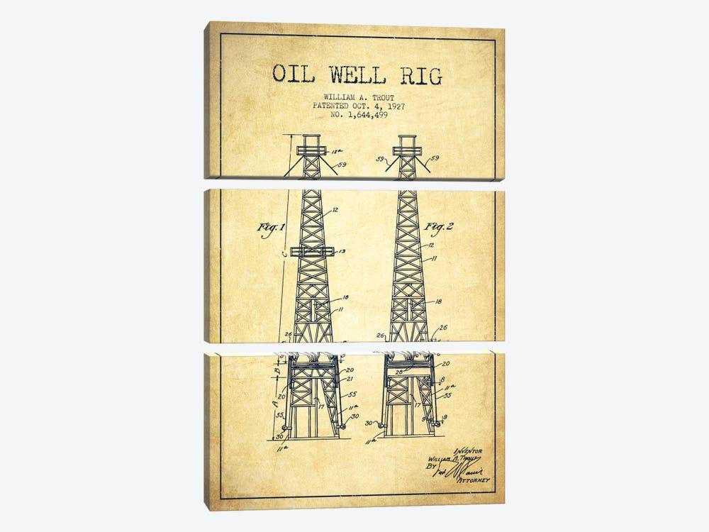 Oil Well Derrick Vintage Patent Blueprint by Aged Pixel 3-piece Canvas Artwork