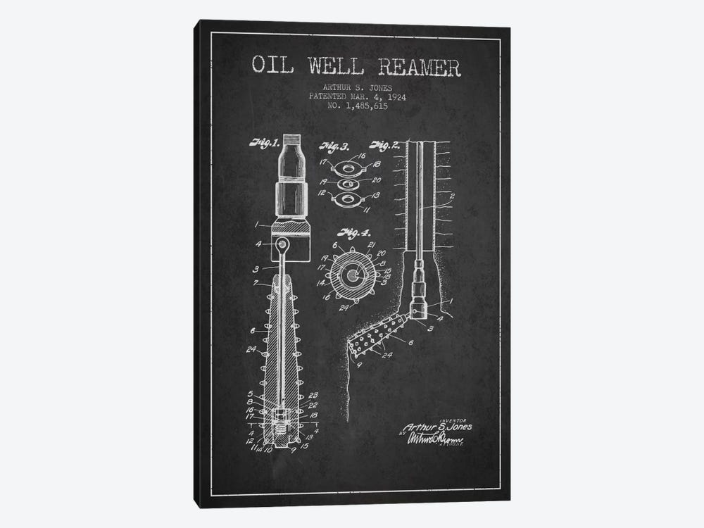 Oil Well Reamer Charcoal Patent Blueprint by Aged Pixel 1-piece Canvas Print