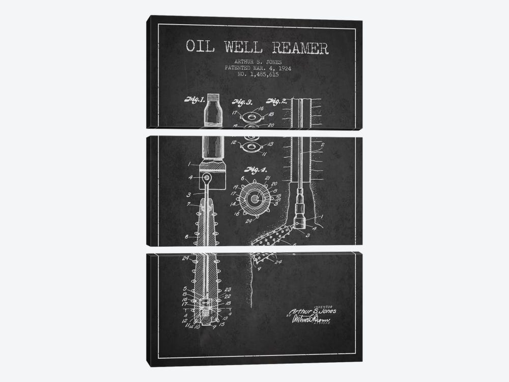Oil Well Reamer Charcoal Patent Blueprint by Aged Pixel 3-piece Canvas Art Print