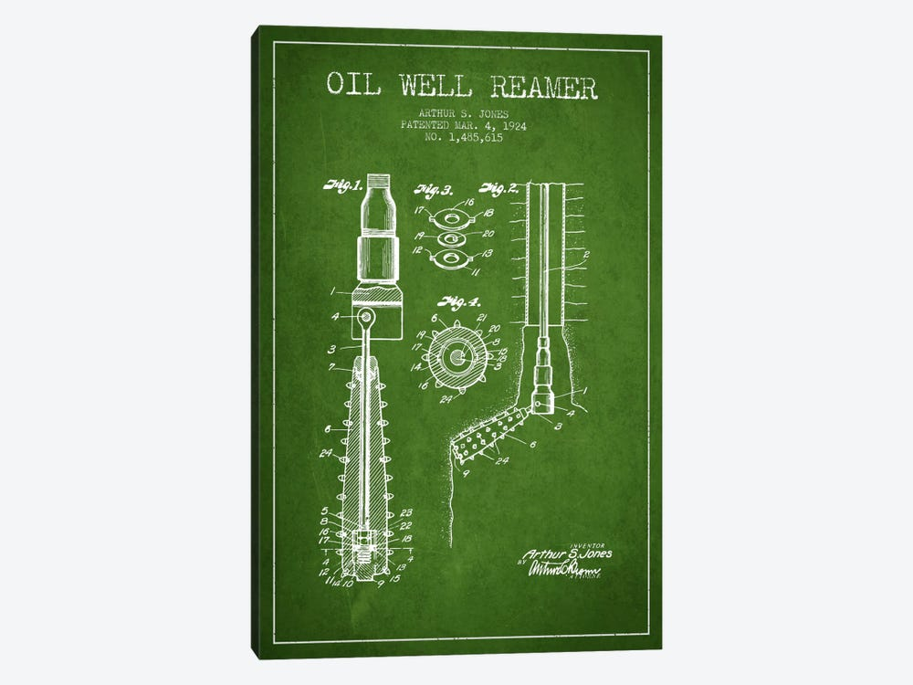 Oil Well Reamer Green Patent Blueprint by Aged Pixel 1-piece Canvas Art