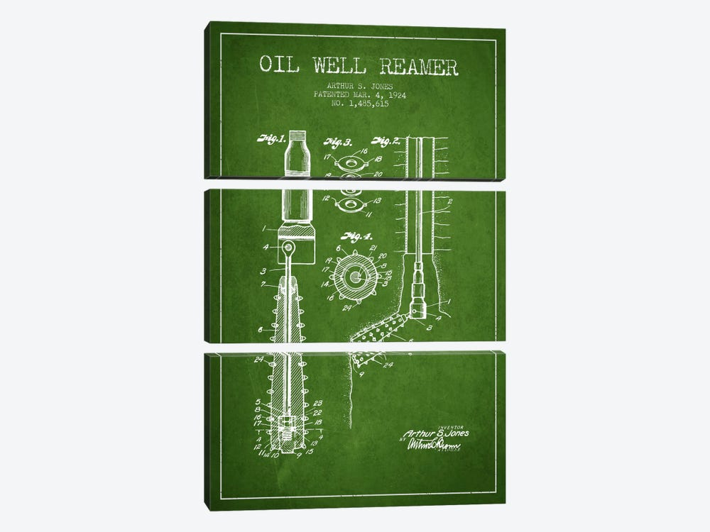 Oil Well Reamer Green Patent Blueprint by Aged Pixel 3-piece Canvas Art
