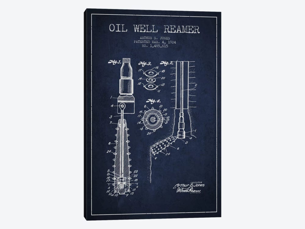 Oil Well Reamer Navy Blue Patent Blueprint by Aged Pixel 1-piece Art Print