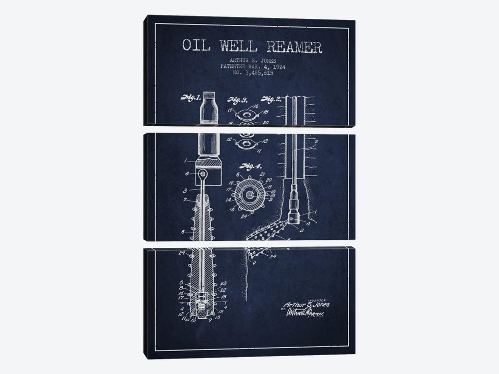 Oil Well Reamer Navy Blue Patent Blueprint by Aged Pixel 3-piece Art Print