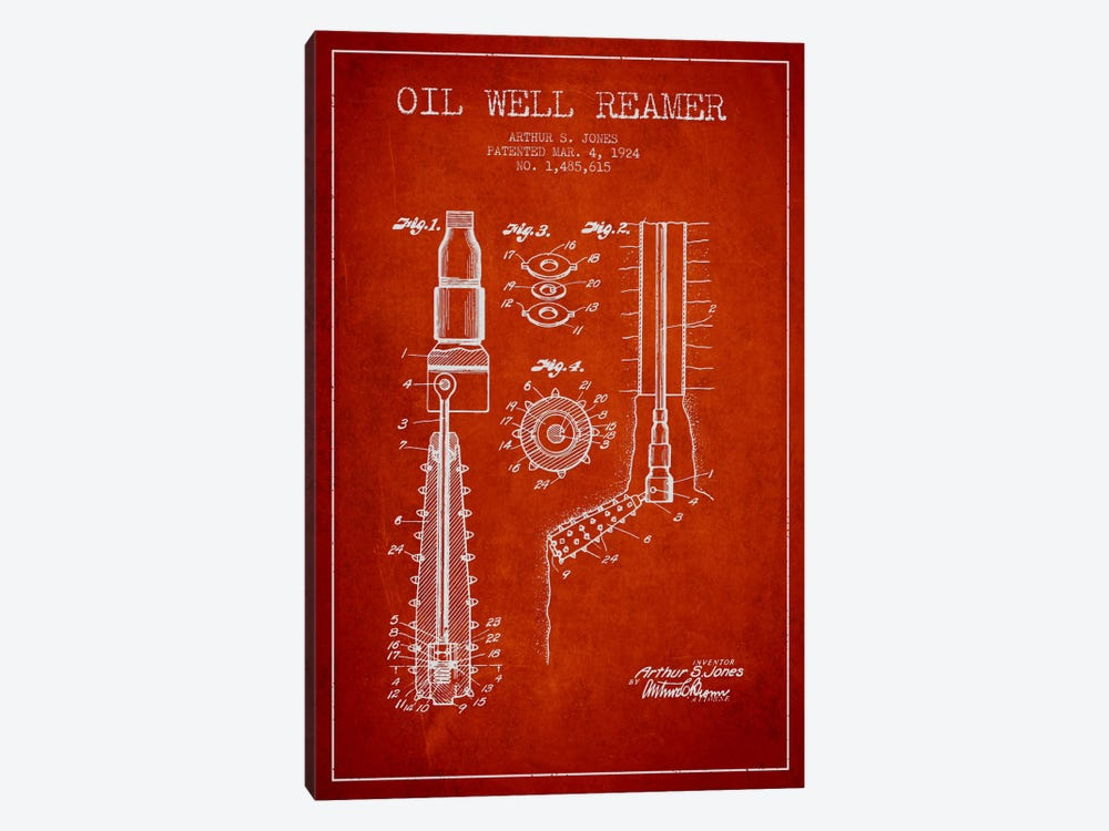 Oil Well Reamer Red Patent Blueprint by Aged Pixel 1-piece Canvas Art
