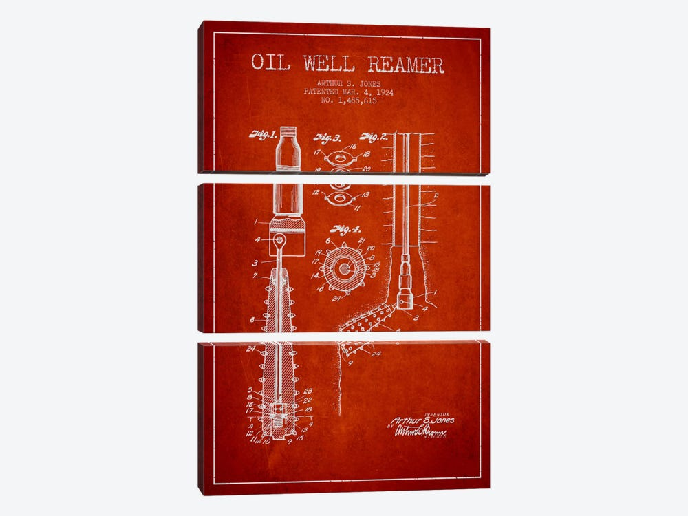 Oil Well Reamer Red Patent Blueprint by Aged Pixel 3-piece Canvas Art