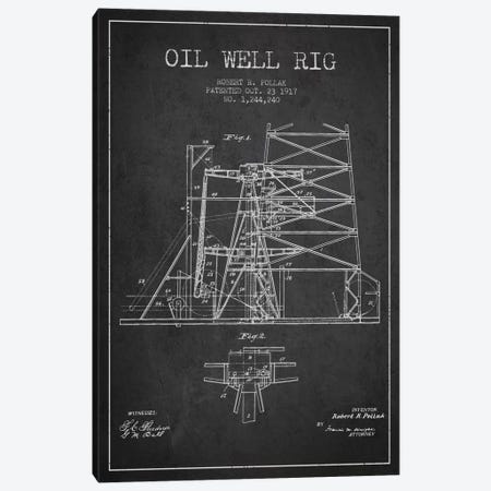 Oil Well Rig 1 Charcoal Patent Blueprint Canvas Print #ADP1539} by Aged Pixel Canvas Art