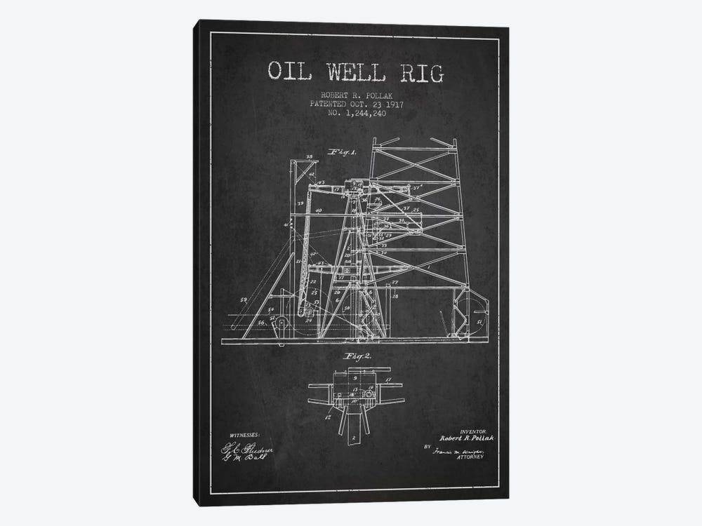 Oil Well Rig 1 Charcoal Patent Blueprint by Aged Pixel 1-piece Canvas Art