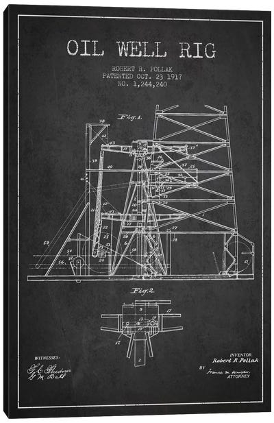 Oil Well Rig 1 Charcoal Patent Blueprint Canvas Art Print