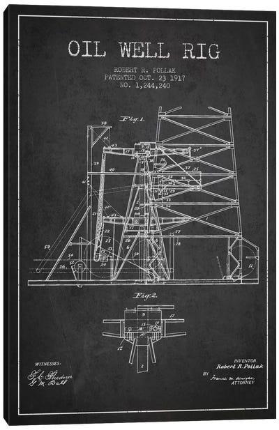 Oil Well Rig 1 Charcoal Patent Blueprint Canvas Art Print