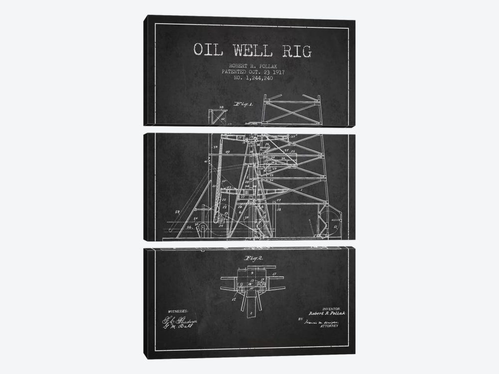 Oil Well Rig 1 Charcoal Patent Blueprint by Aged Pixel 3-piece Canvas Wall Art