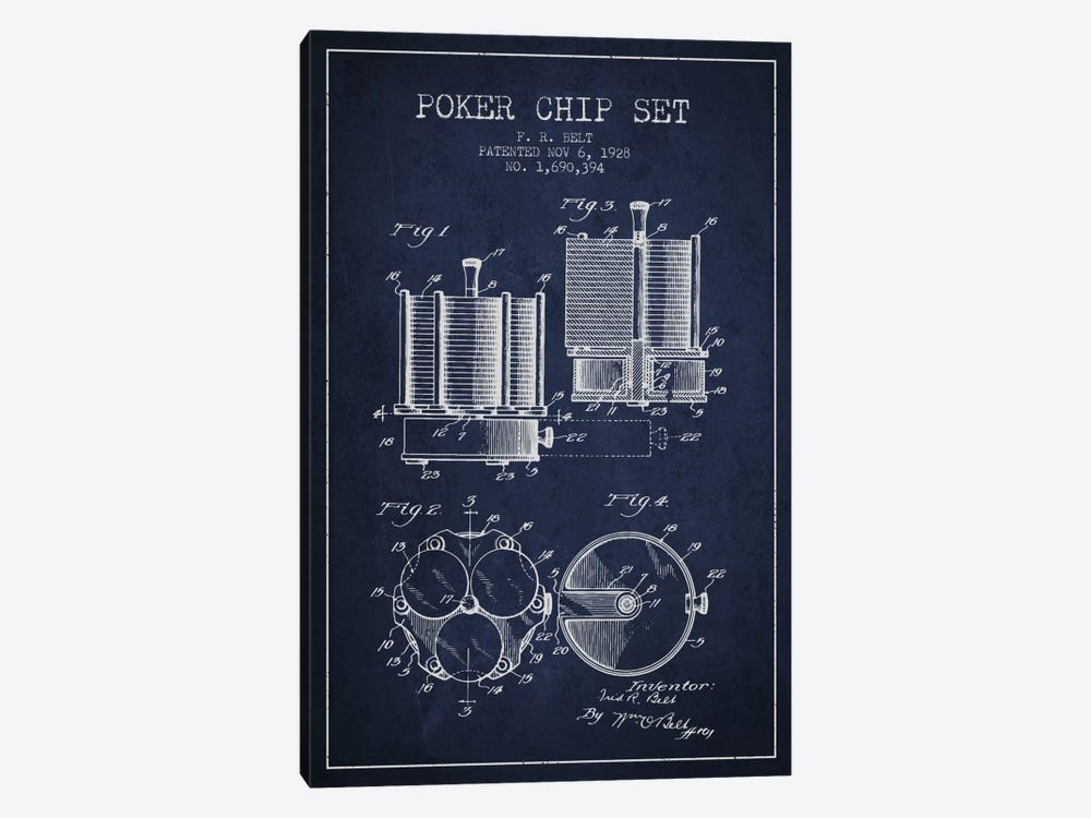 Poker Chips 1 Navy Blue Patent Blueprint by Aged Pixel 1-piece Canvas Wall Art