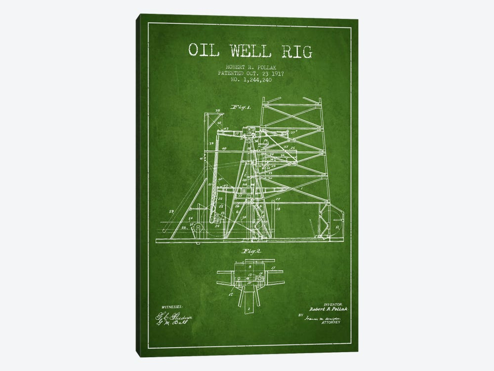 Oil Well Rig 1 Green Patent Blueprint by Aged Pixel 1-piece Canvas Art