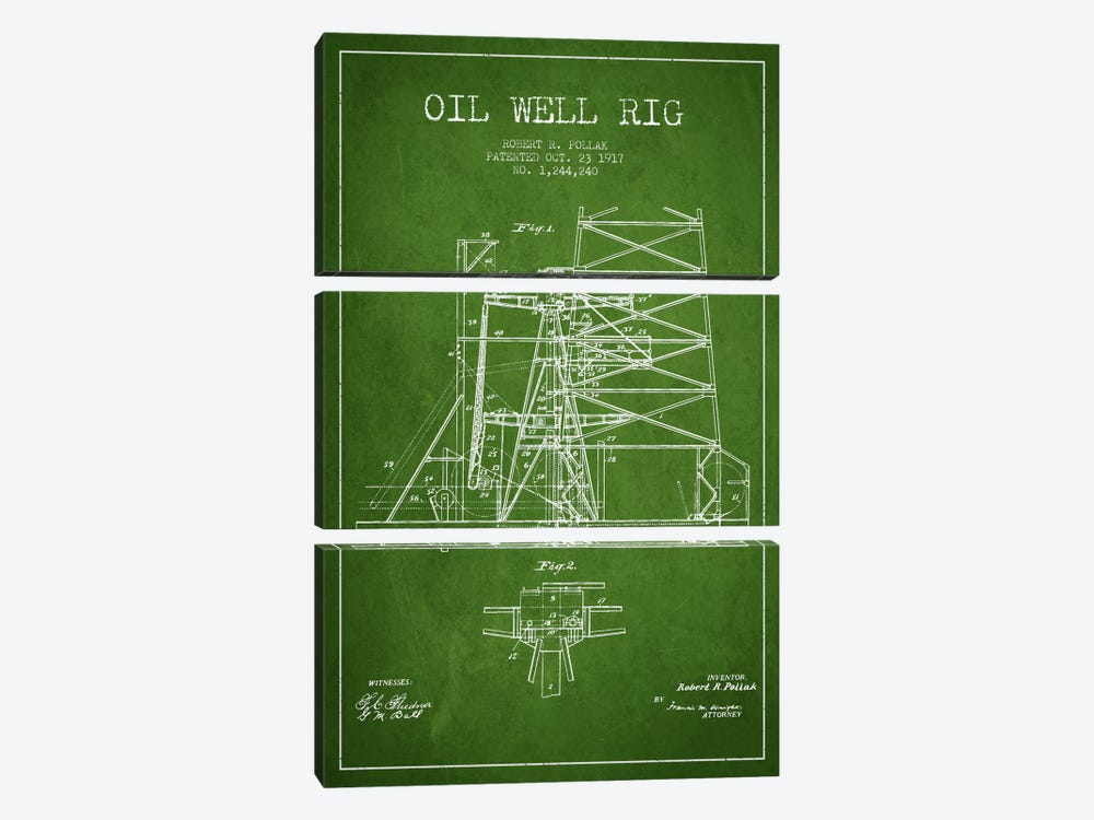 Oil Well Rig 1 Green Patent Blueprint by Aged Pixel 3-piece Canvas Art