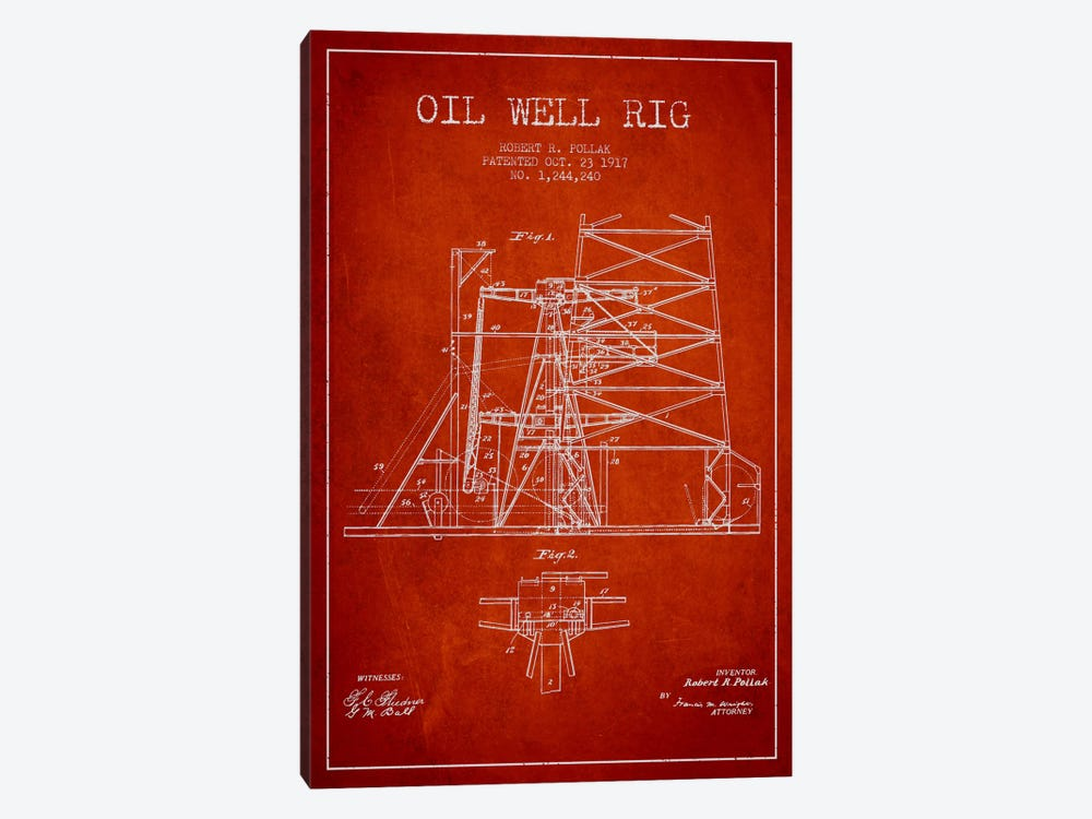 Oil Well Rig 1 Red Patent Blueprint 1-piece Canvas Wall Art