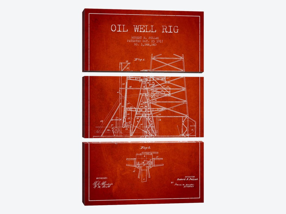 Oil Well Rig 1 Red Patent Blueprint 3-piece Canvas Art