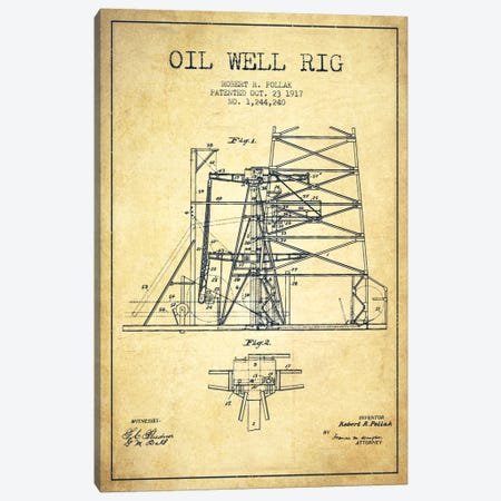 Oil Well Rig 1 Vintage Patent Blueprint Canvas Print #ADP1543} by Aged Pixel Canvas Print