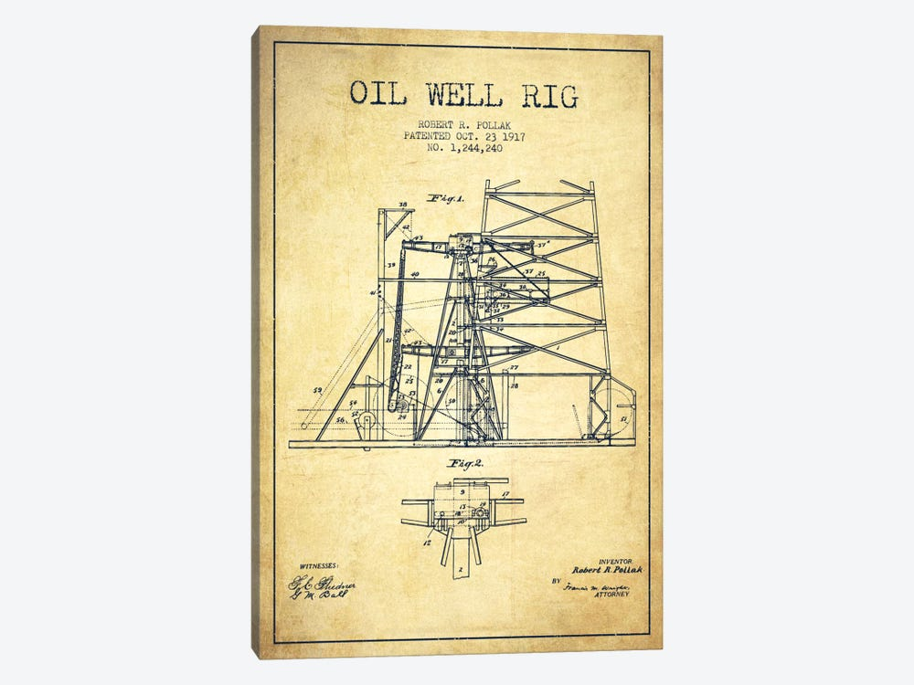 Oil Well Rig 1 Vintage Patent Blueprint by Aged Pixel 1-piece Canvas Art Print