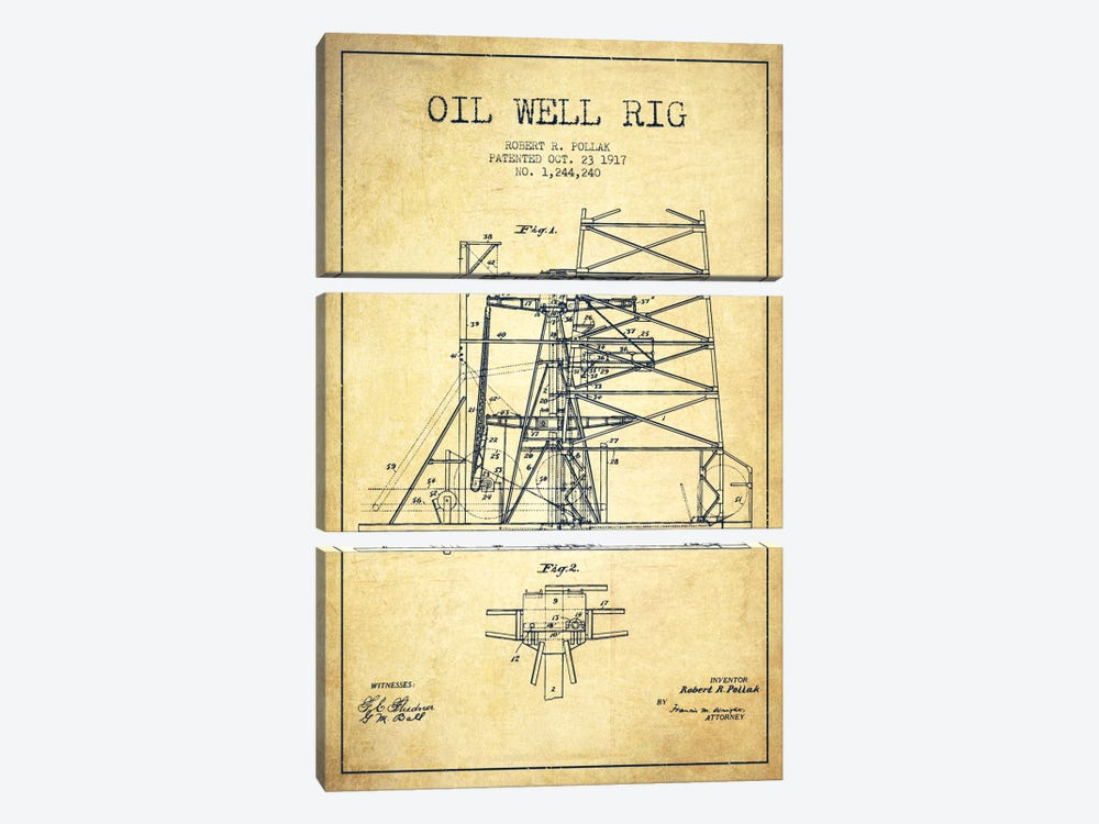 Oil Well Rig 1 Vintage Patent Blueprint by Aged Pixel 3-piece Canvas Art Print