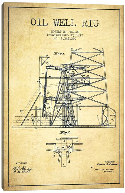 Oil Well Rig 1 Vintage Patent Blueprint Canvas Art Print