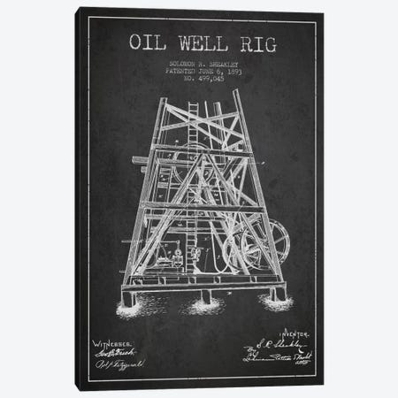 Oil Well Rig Charcoal Patent Blueprint Canvas Print #ADP1544} by Aged Pixel Canvas Art
