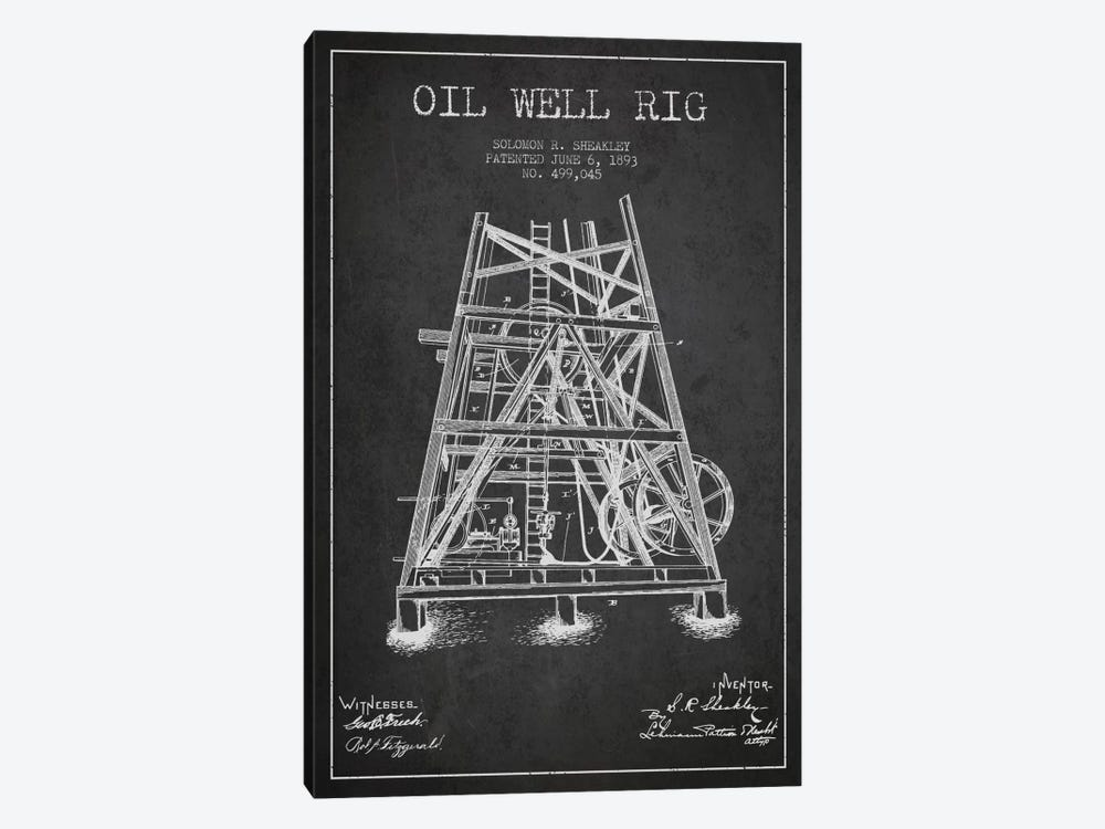 Oil Well Rig Charcoal Patent Blueprint by Aged Pixel 1-piece Canvas Art