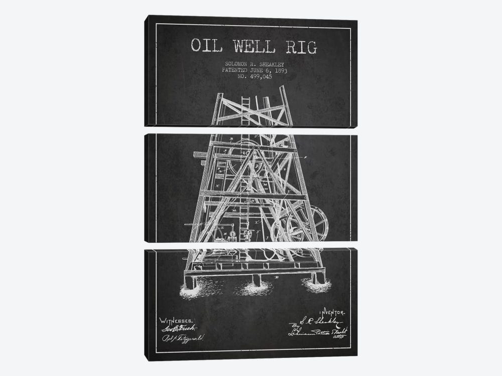 Oil Well Rig Charcoal Patent Blueprint by Aged Pixel 3-piece Canvas Art