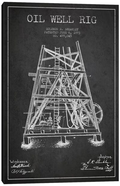 Oil Well Rig Charcoal Patent Blueprint Canvas Art Print