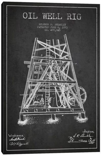 Oil Well Rig Charcoal Patent Blueprint Canvas Art Print