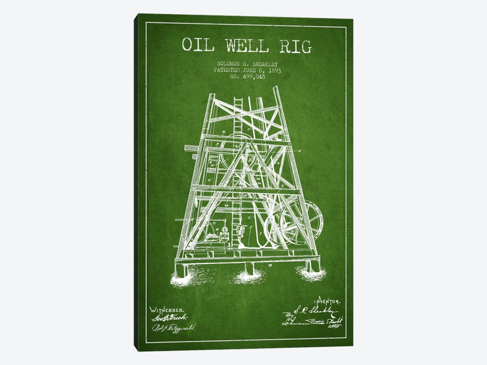 Oil Well Rig Green Patent Blueprint by Aged Pixel 1-piece Art Print