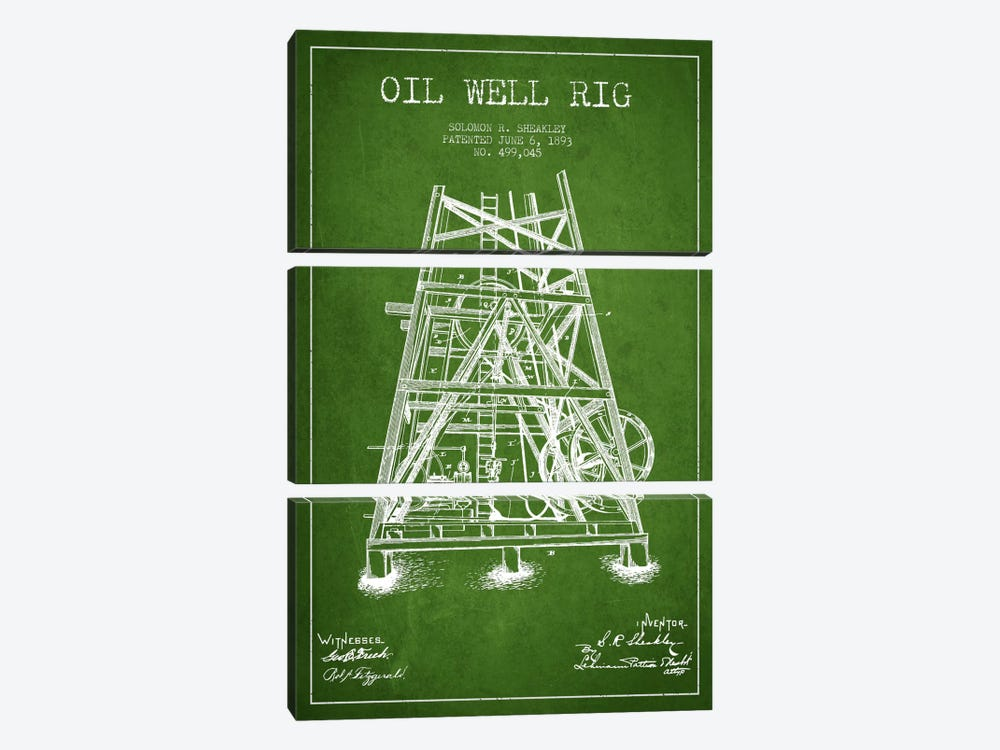 Oil Well Rig Green Patent Blueprint by Aged Pixel 3-piece Canvas Art Print