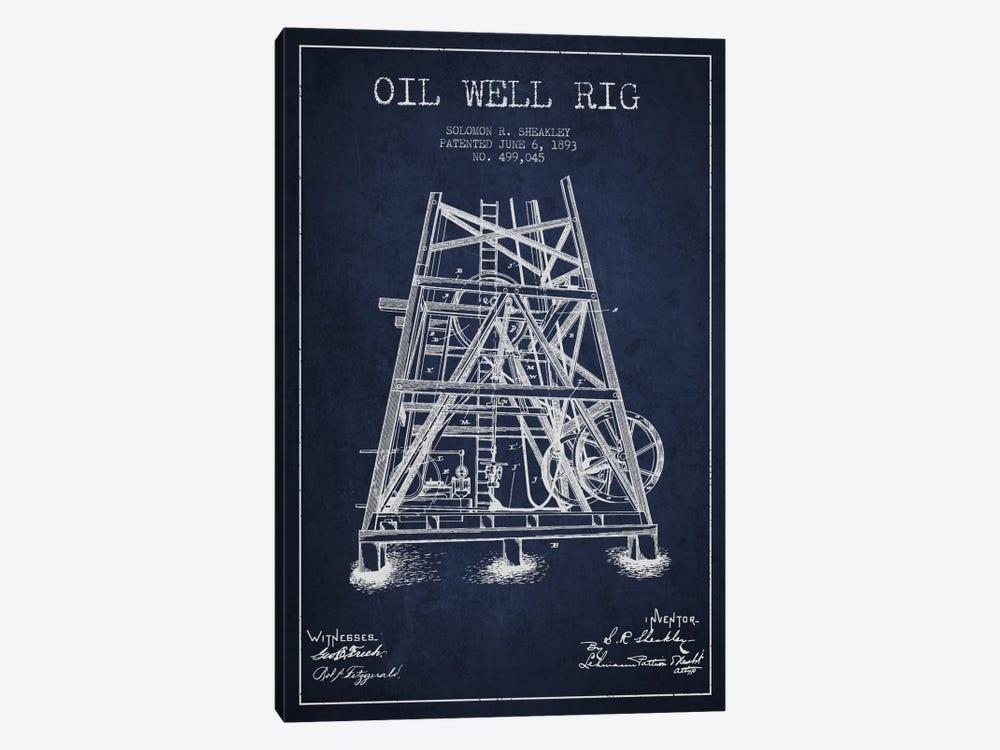 Oil Well Rig Patent Blueprint 1-piece Canvas Wall Art