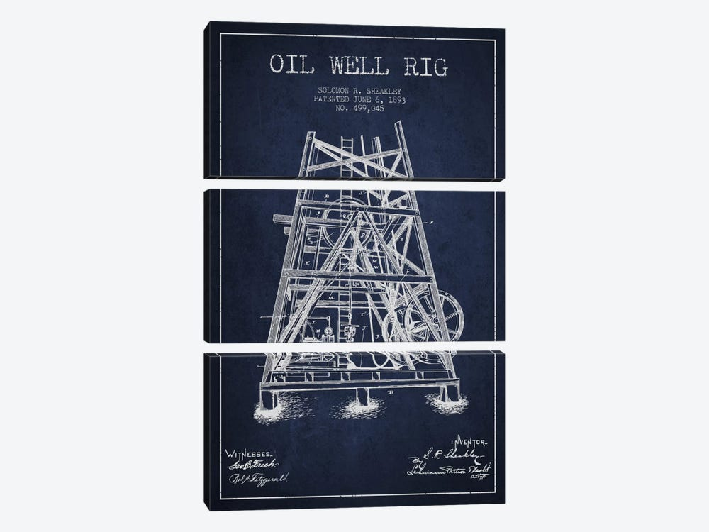 Oil Well Rig Patent Blueprint by Aged Pixel 3-piece Canvas Wall Art
