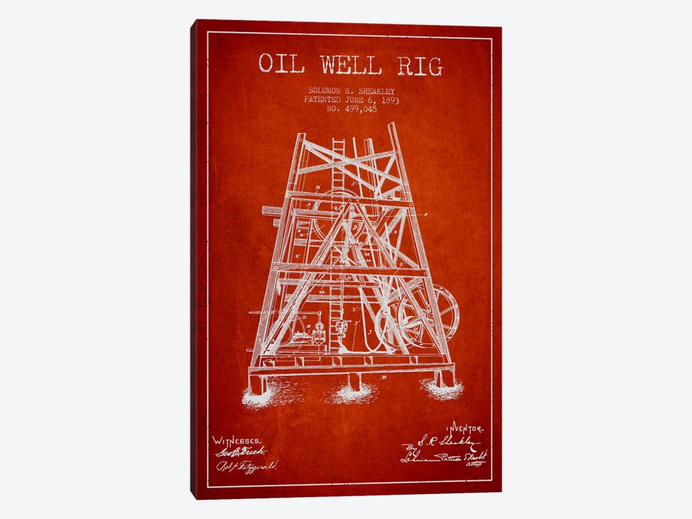 Oil Rig Well Rig Red Patent Blueprint by Aged Pixel 1-piece Canvas Art Print