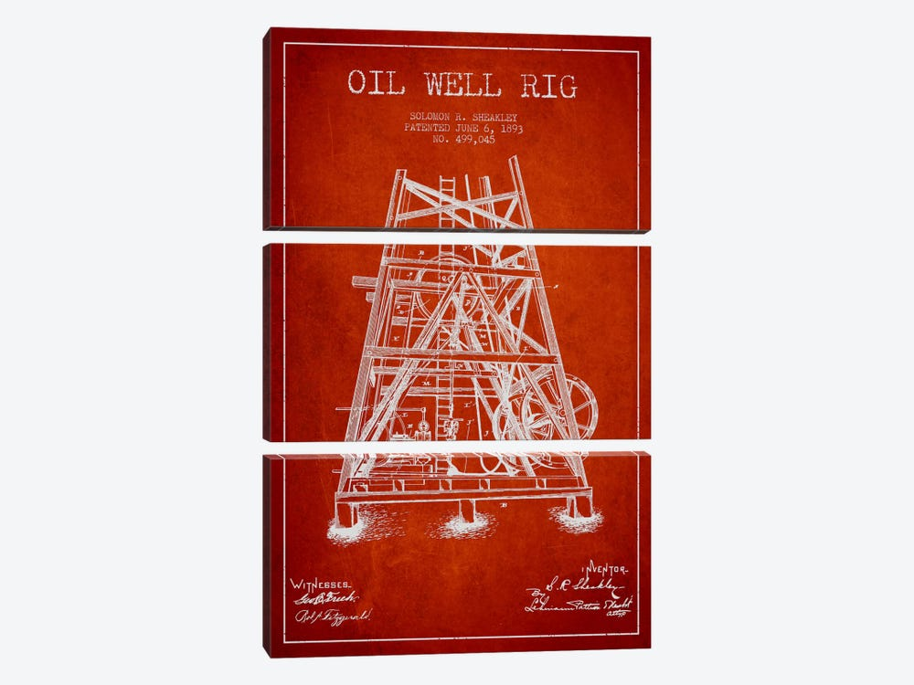 Oil Rig Well Rig Red Patent Blueprint by Aged Pixel 3-piece Canvas Print