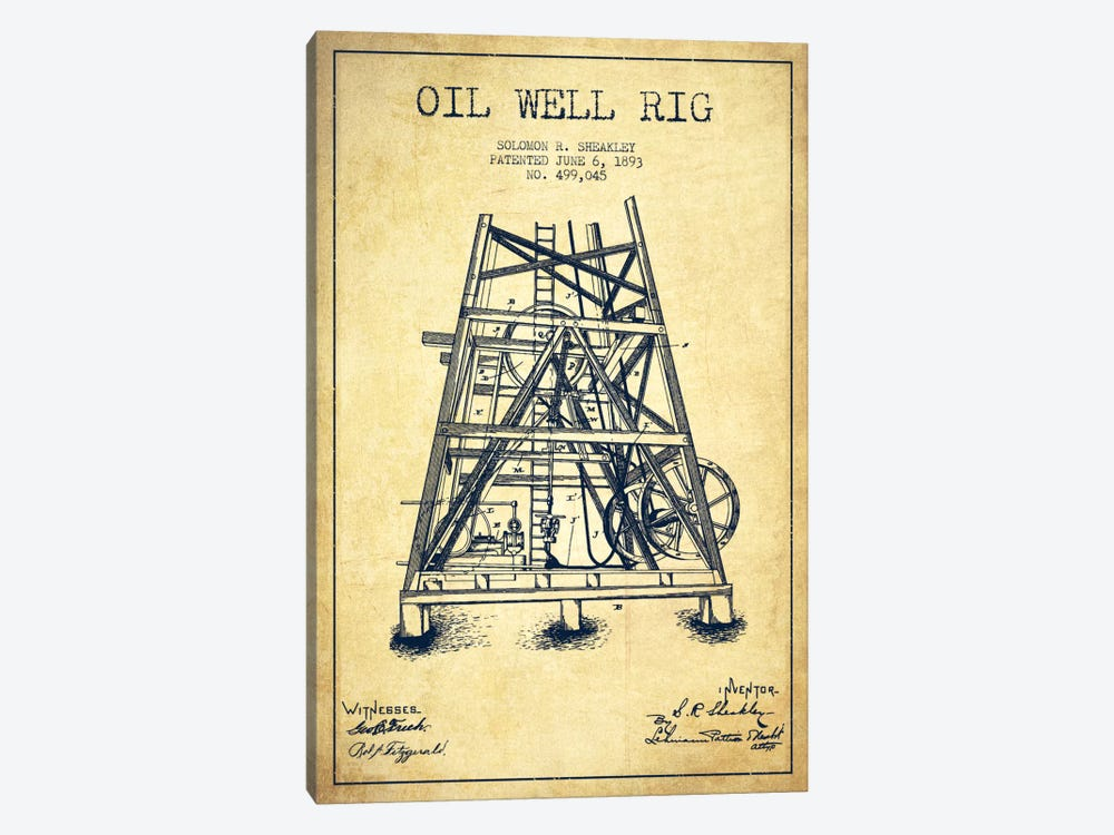 Oil Well Rig Vintage Patent Blueprint by Aged Pixel 1-piece Canvas Art