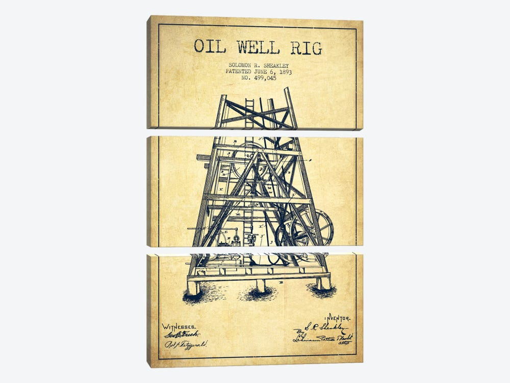 Oil Well Rig Vintage Patent Blueprint by Aged Pixel 3-piece Canvas Artwork