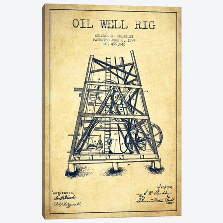 Oil Well Rig Vintage Patent Blueprint Canvas Print #ADP1548} by Aged Pixel Canvas Art Print