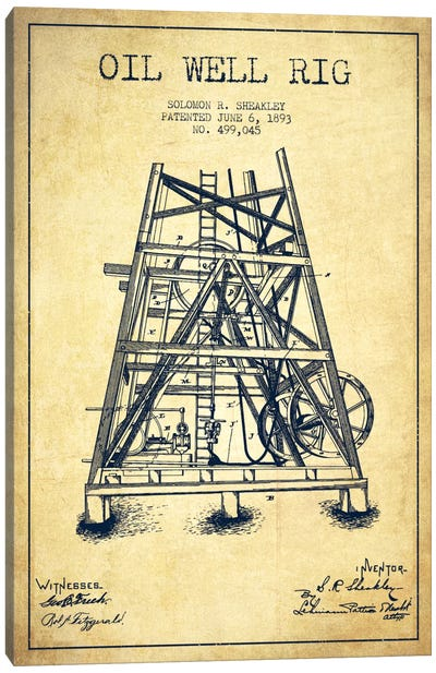 Oil Well Rig Vintage Patent Blueprint Canvas Art Print