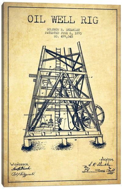 Oil Well Rig Vintage Patent Blueprint Canvas Art Print