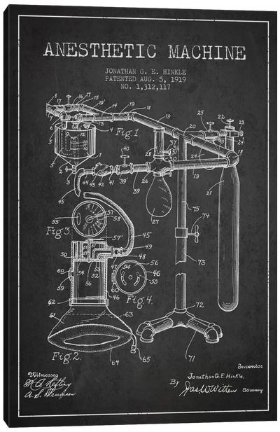 Anesthetic Machine Charcoal Patent Blueprint Canvas Art Print