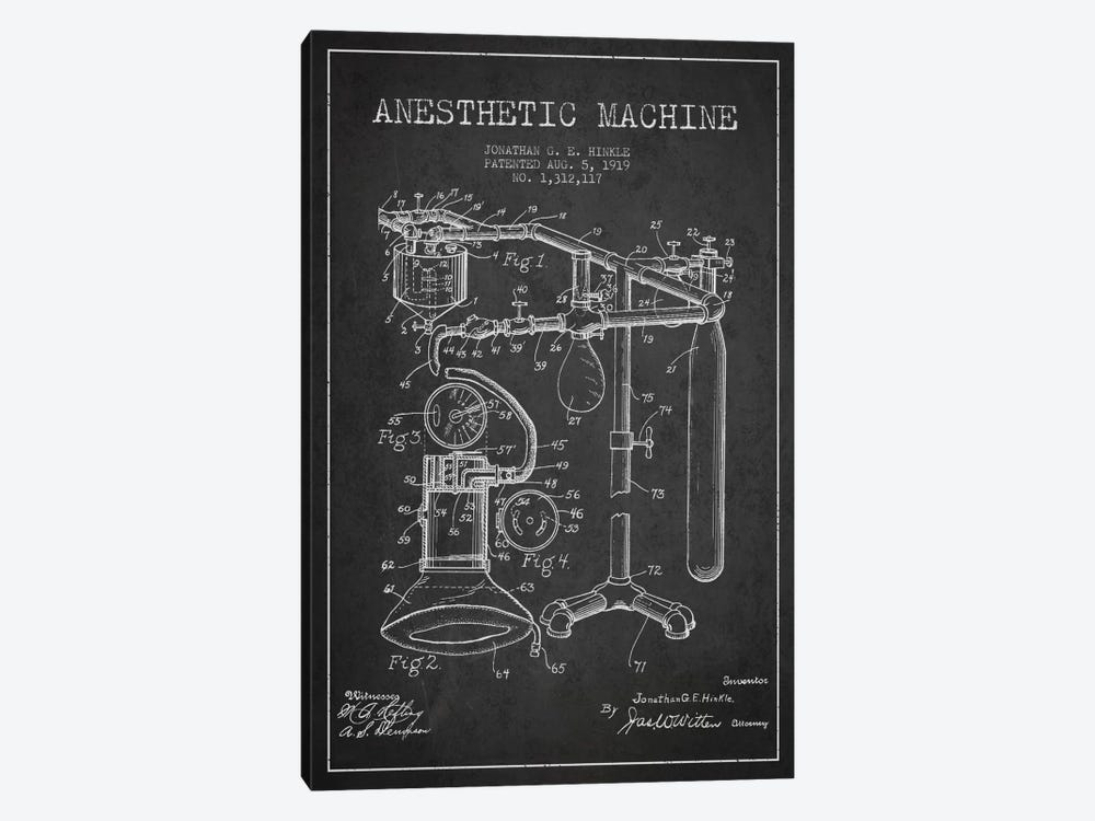 Anesthetic Machine Charcoal Patent Blueprint by Aged Pixel 1-piece Canvas Art Print