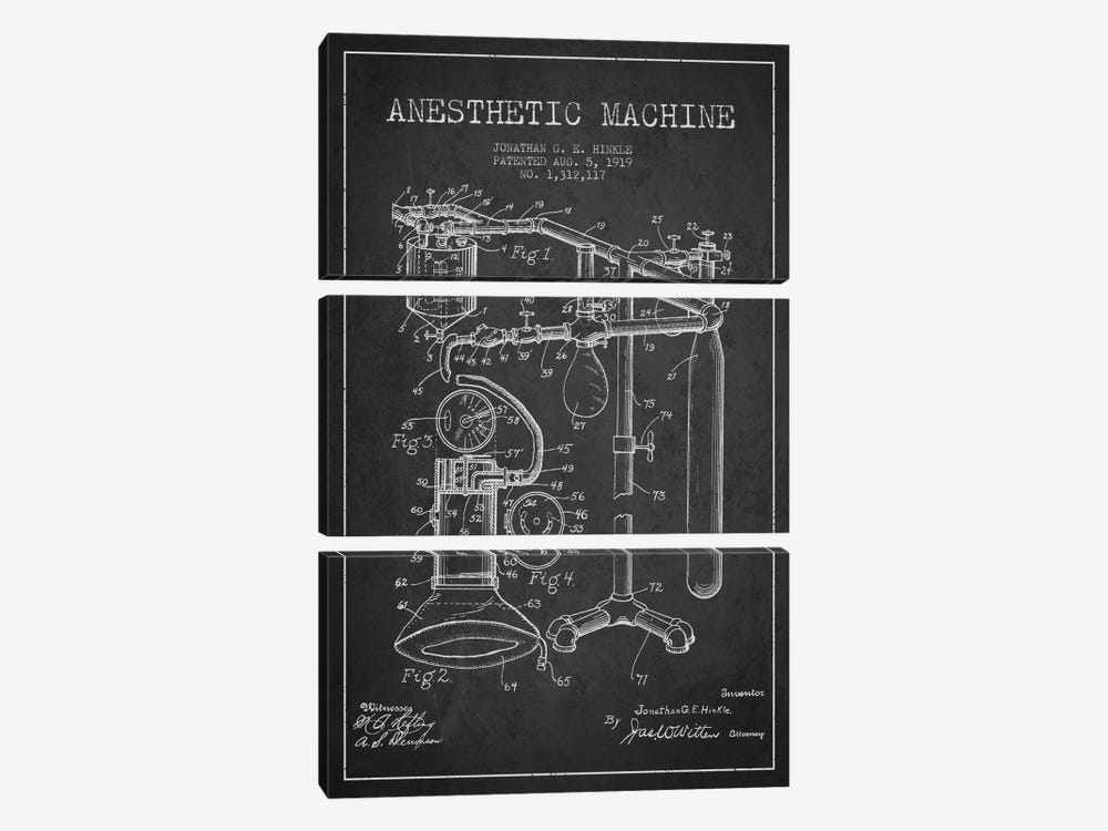 Anesthetic Machine Charcoal Patent Blueprint by Aged Pixel 3-piece Canvas Art Print