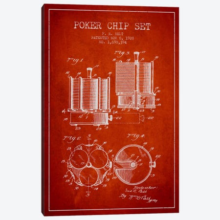 Poker Chips 1 Red Patent Blueprint Canvas Print #ADP154} by Aged Pixel Canvas Wall Art