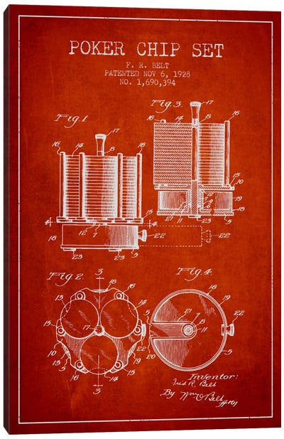Poker Chips 1 Red Patent Blueprint Canvas Art Print