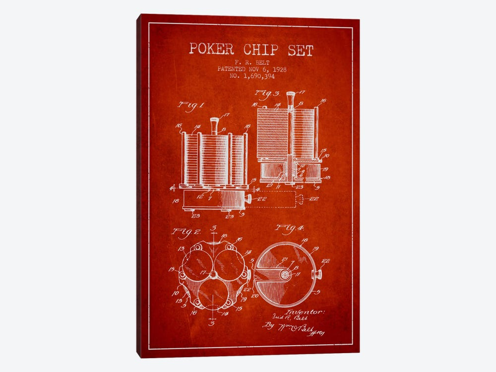 Poker Chips 1 Red Patent Blueprint by Aged Pixel 1-piece Art Print